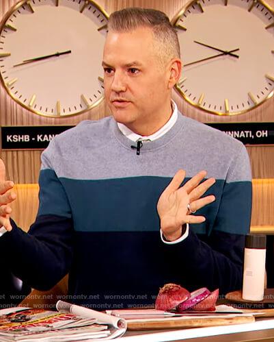 Ross Mathew's blue stripe sweater on The Drew Barrymore Show