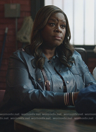 Ruby's blue leather jacket on Good Girls