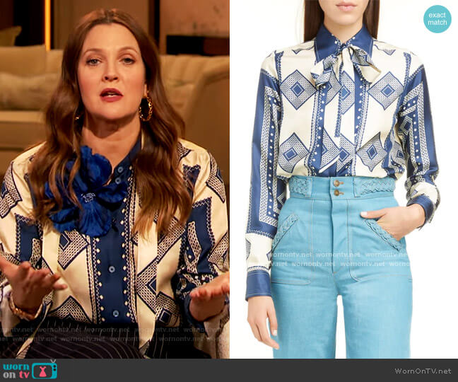 Geometric Print Tie Neck Silk Blouse by Runway Marc Jacobs worn by Drew Barrymore  on The Drew Barrymore Show