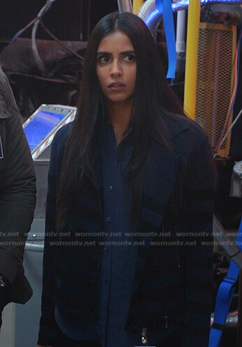 Saanvi's blue striped jacket on Manifest