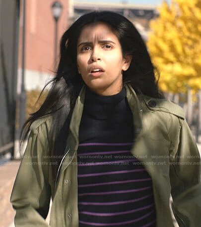 Saanvi's black and purple striped turtleneck sweater on Manifest