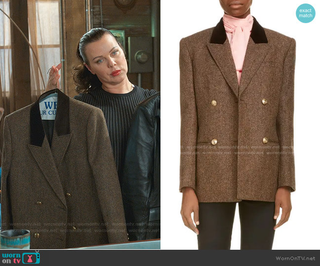 Double Breasted Wool Tweed Blazer by Saint Laurent worn by Maggie (Debi Mazar) on Younger