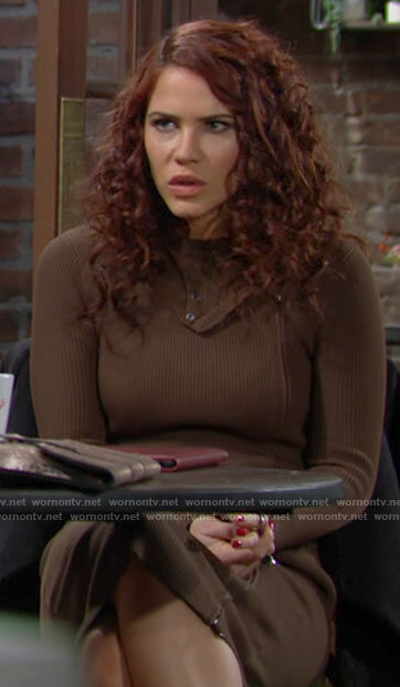 Sally's khaki green zip front dress on The Young and the Restless