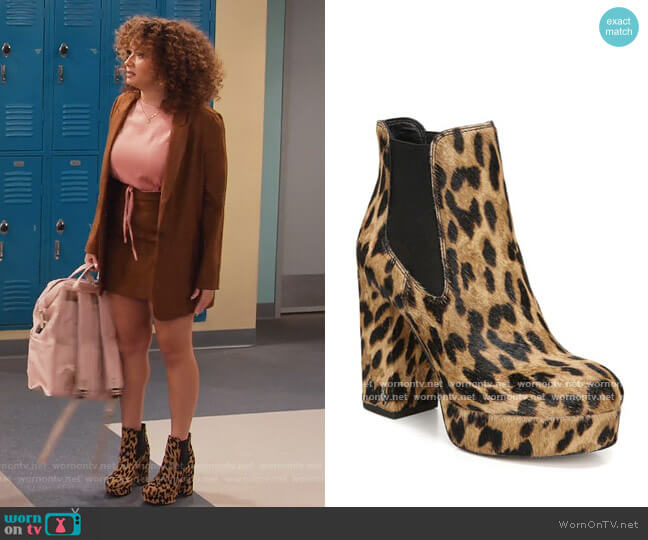 Abella Leopard-Print Calf Hair Chelsea Boots by Sam Edelman worn by Jade (Talia Jackson) on Family Reunion