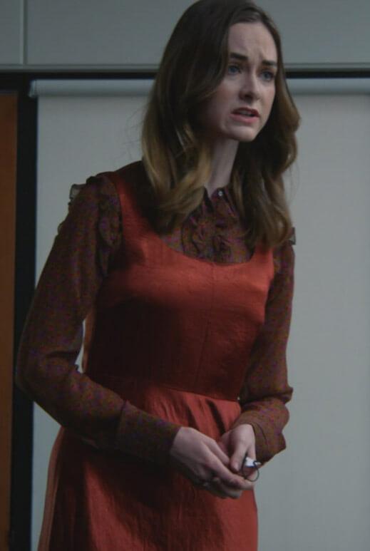 Sam's brown satin sleeveless dress on All Rise