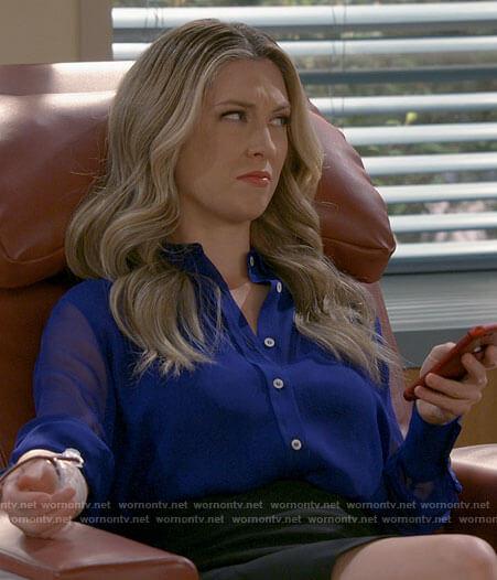 Samantha's blue sheer sleeve blouse on B Positive