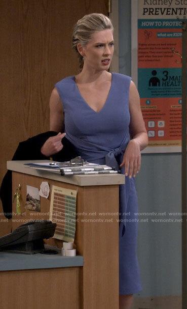 Samantha's blue tie front dress on B Positive