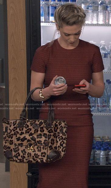 Samantha's red short sleeve sheath dress on B Positive