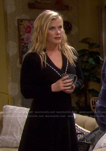 Sami's black pearl embellished dress on Days of our Lives