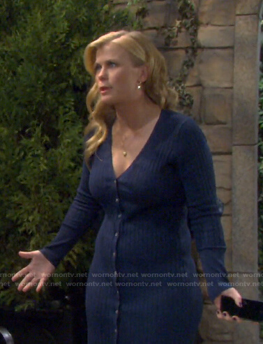 Sami's blue ribbed cardigan dress on Days of our Lives