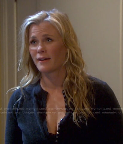 Sami's dark grey henley sweater on Days of our Lives