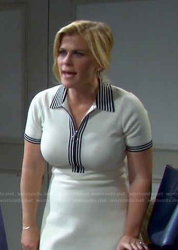 Sami's white stripe trim dress on Days of our Lives