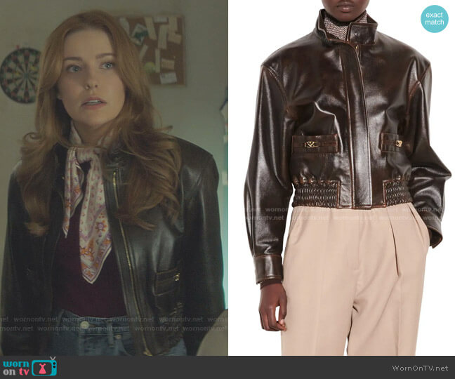 Leather Bomber Jacket by Sandro worn by Nancy Drew (Kennedy McMann) on Nancy Drew