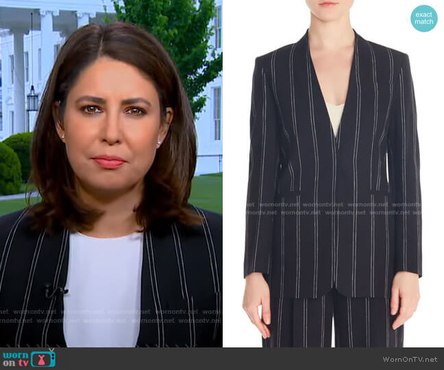 Natanielle Stripe Collarless Linen Blend Blazer by Sandro worn by Cecilia Vega  on Good Morning America
