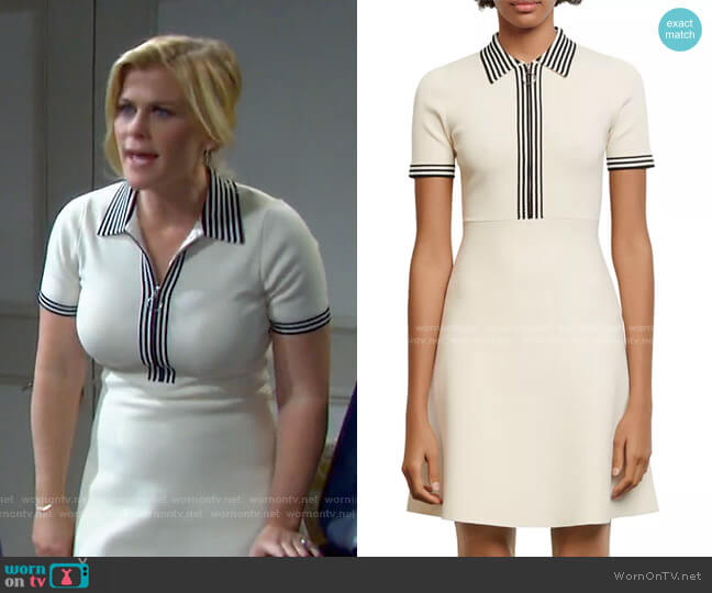 Paulzy Stripe-Trim Knit A-Line Dress by Sandro worn by Sami Brady (Alison Sweeney) on Days of our Lives