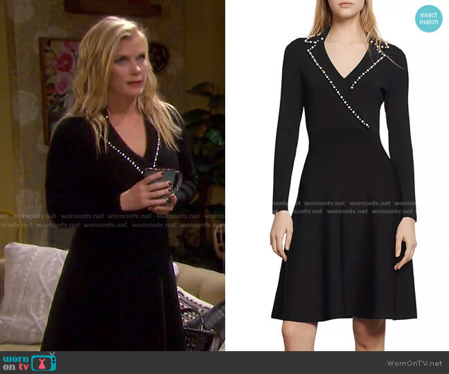 Suity Embellished A-Line Mini Dress by Sandro worn by Sami Brady (Alison Sweeney) on Days of our Lives