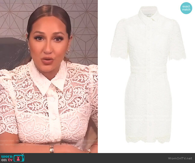 Mini Lace Shirt Dress by Sandro worn by Adrienne Houghton  on The Real