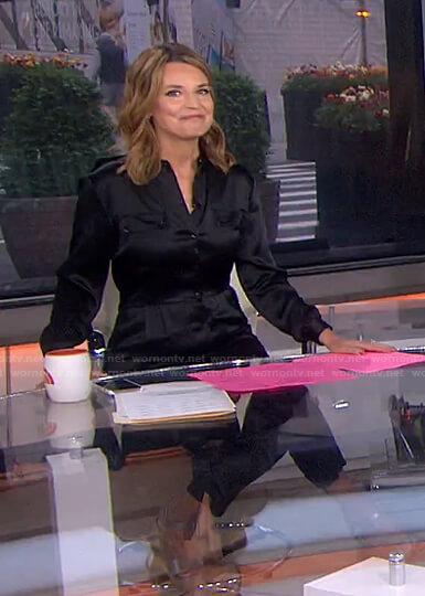 Savannah's black satin jumpsuit on Today