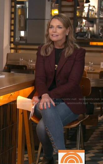 Savannah's burgundy plaid blazer and jeans on Today