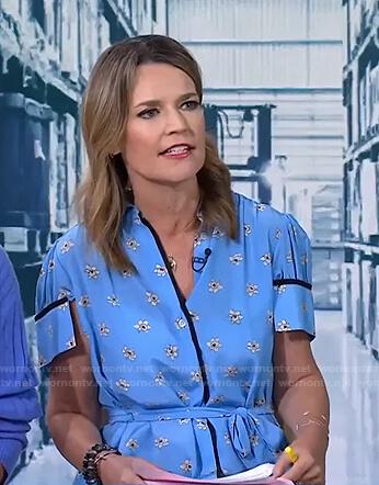 Savannah's blue floral shirtdress on Today