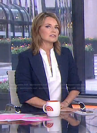 Savannah's navy ruched sleeve blazer on Today