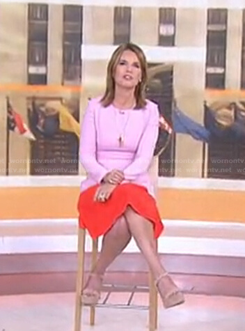Savannah's pink and red colorblock dress on Today