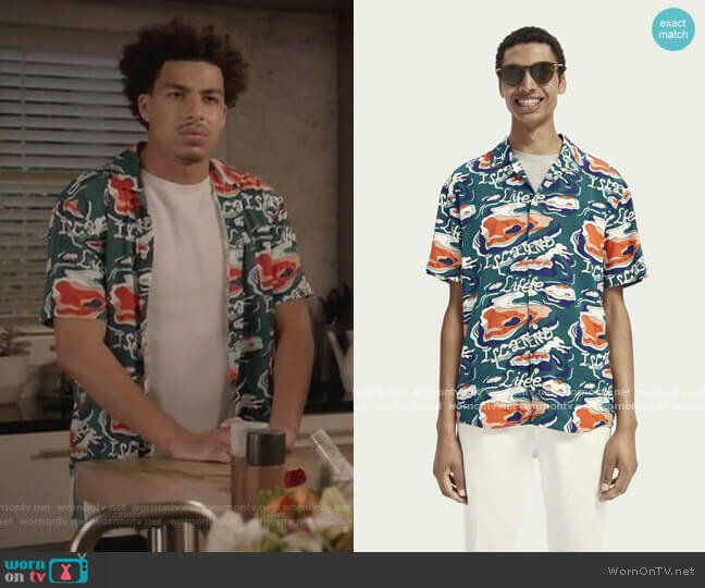 Lightweight Short Sleeve Printed Shirt by Scotch and Soda worn by Andre Johnson Jr (Marcus Scribner) on Blackish