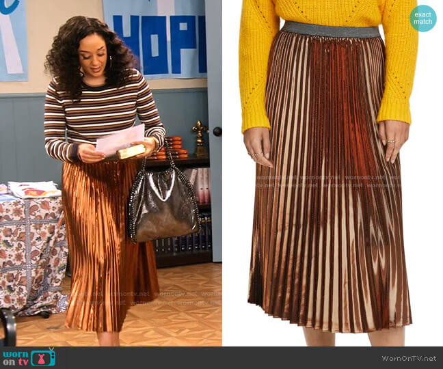 Metallic Pleated Midi Skirt by Scotch & Soda worn by Cocoa McKellan (Tia Mowry-Hardrict) on Family Reunion
