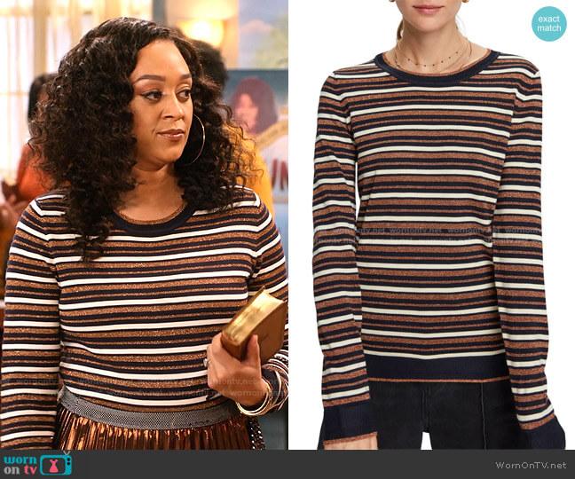 Stripe Pullover Sweater by Scotch & Soda worn by Cocoa McKellan (Tia Mowry-Hardrict) on Family Reunion