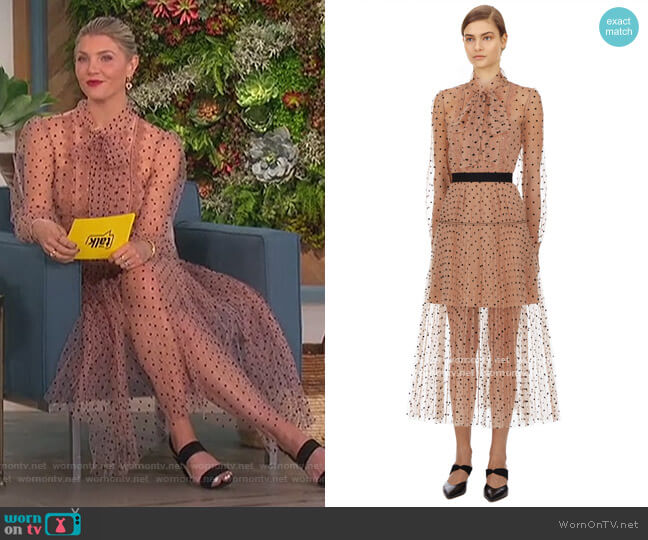 Polka Dot Lace Trimmed Dress by Self-Portrait worn by Amanda Kloots  on The Talk