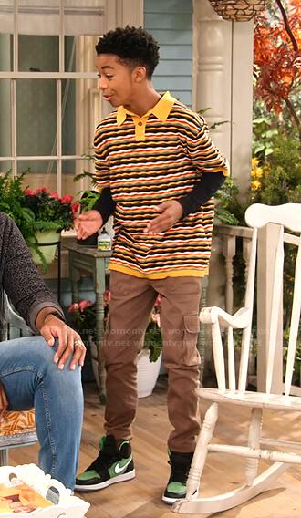 Shaka's yellow striped polo shirt on Family Reunion