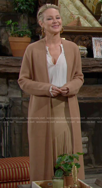 Sharon's long camel cardigan on The Young and the Restless
