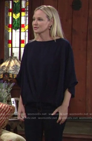 Sharon's navy blue blouse on The Young and the Restless