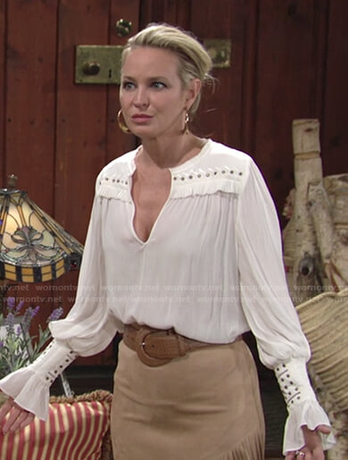 Sharon's white studded v-neck top on The Young and the Restless