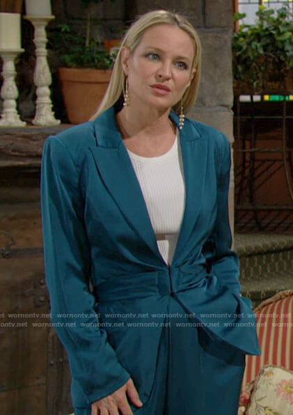 Sharon's teal blue satin suit on The Young and the Restless