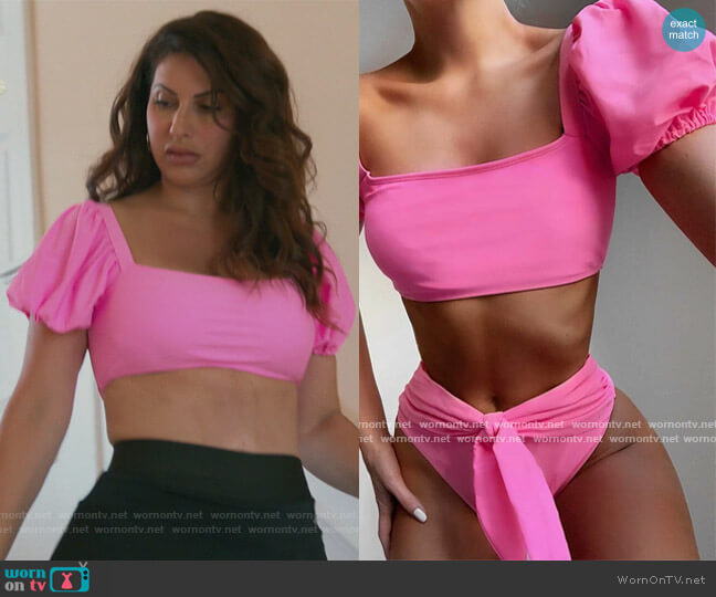 Puff Sleeve Tie Front Tee Bikini Swimsuit by Shein worn by Jennifer Aydin  on The Real Housewives of New Jersey