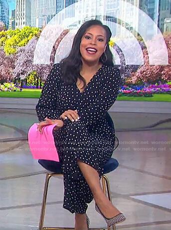 Sheinelle's black polka dot jumpsuit on Today