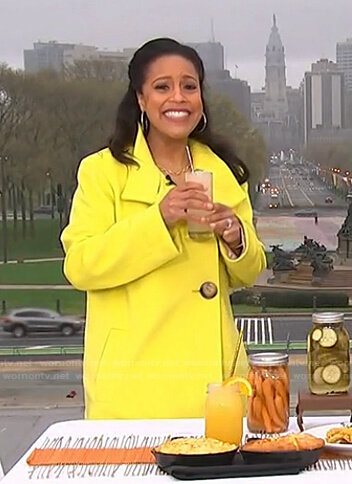 Sheinelle's yellow coat with large buttons on Today