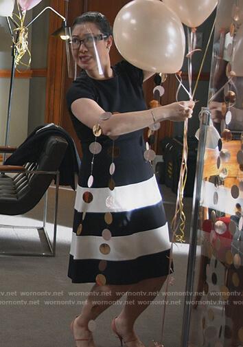 Sherri's black striped dress on All Rise
