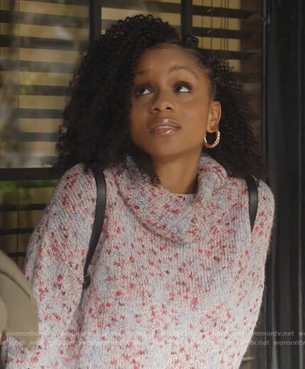 Simone's blue speckled sweater on All American