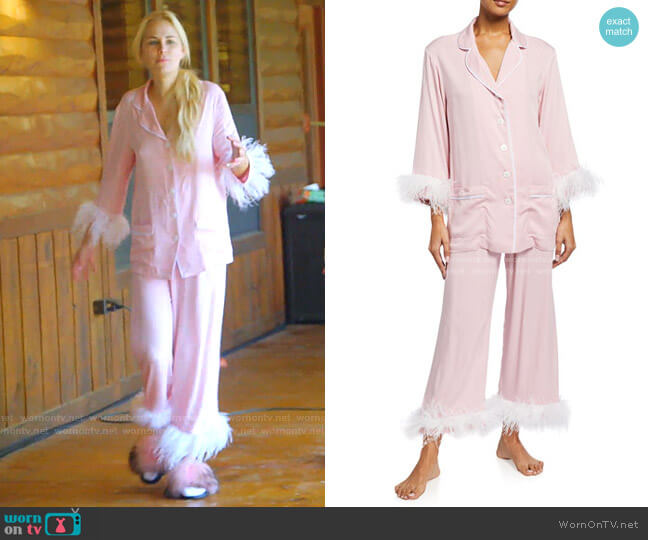 Party Double Feather-Trim Pajama Set by Sleeper worn by Kameron Westcott  on The Real Housewives of Dallas