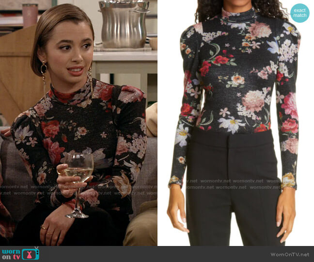 Smythe Box Pleat Knit Floral Top worn by Celia (Emma Caymares) on Call Your Mother