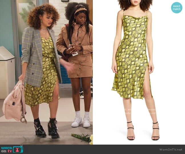 Python Print Slipdress by Socialite worn by Jade (Talia Jackson) on Family Reunion
