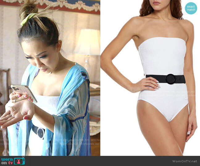 The Madeline Belted Bandeau Swimsuit by Solid & Striped worn by Tiffany Moon  on The Real Housewives of Dallas