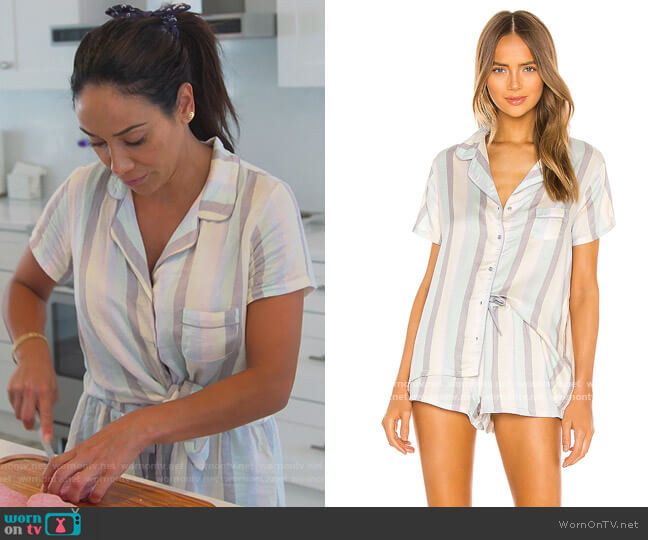 Short Sleeve Sleep Set by Splendid worn by Melissa Gorga  on The Real Housewives of New Jersey