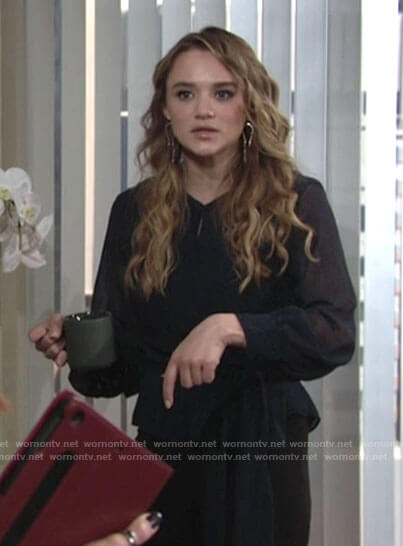 Summer's green printed tie waist blouse on The Young and the Restless