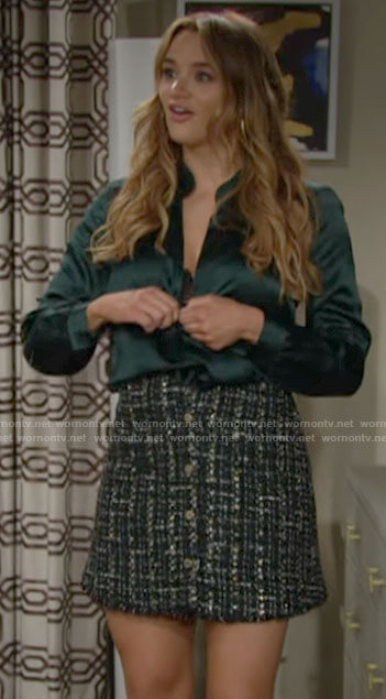 Summer's green satin blouse and tweed skirt on The Young and the Restless