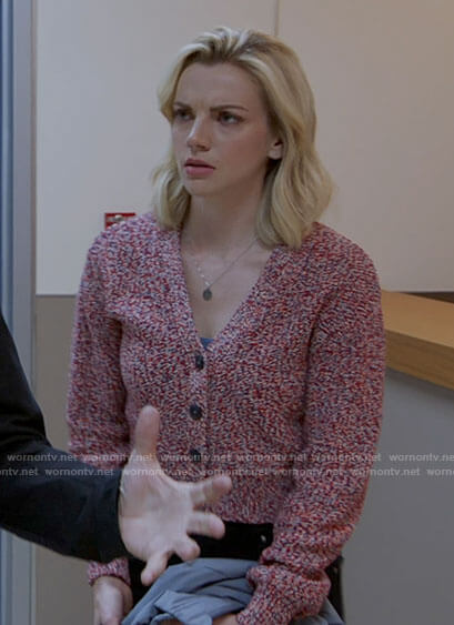 Sylvie's red marled cardigan on Chicago Fire