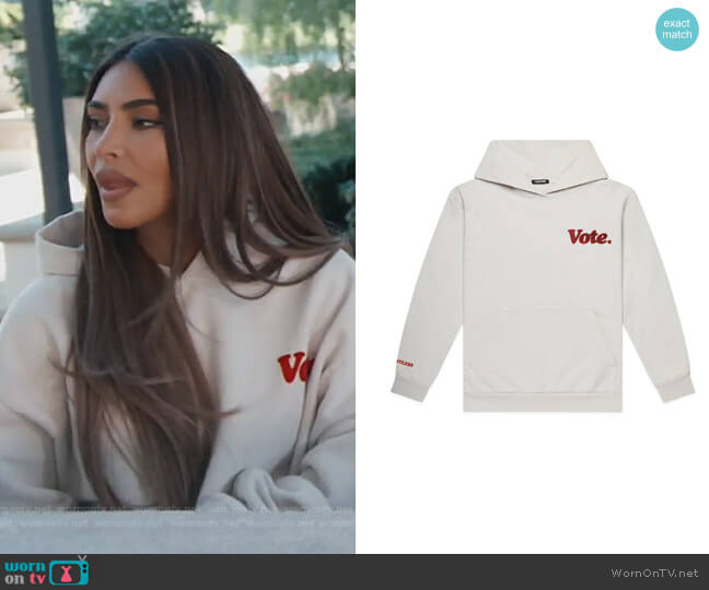 Vote Hoodie by Talentless worn by Kim Kardashian  on Keeping Up with the Kardashians