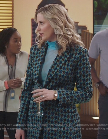 Tami's green printed blazer on Kenan